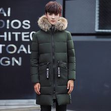men jacket winter new men's long hair, hooded hair, warm coat, male C416-M06-P135 model, army green(China)