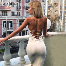 Buy Articat Sexy Backless Bandage Dress Women Halter Sleeveless Slim Pencil Party Dress Autumn Casual Club Bodycon Dress Vestidos
