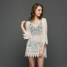 BornToGirl Summer Beach Sexy Women Smock Dress 2017 Holiday Three Quarter Sleeve Knitted Lace Mini Dress Sundress robe femme