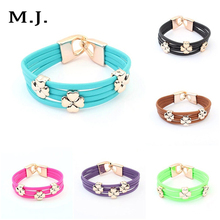 Fashion Candy Color Artificial Leather Vintage Clover Bracelet Women Floating Charm Bracelets Girls Bangles Jewelry Bijuterias