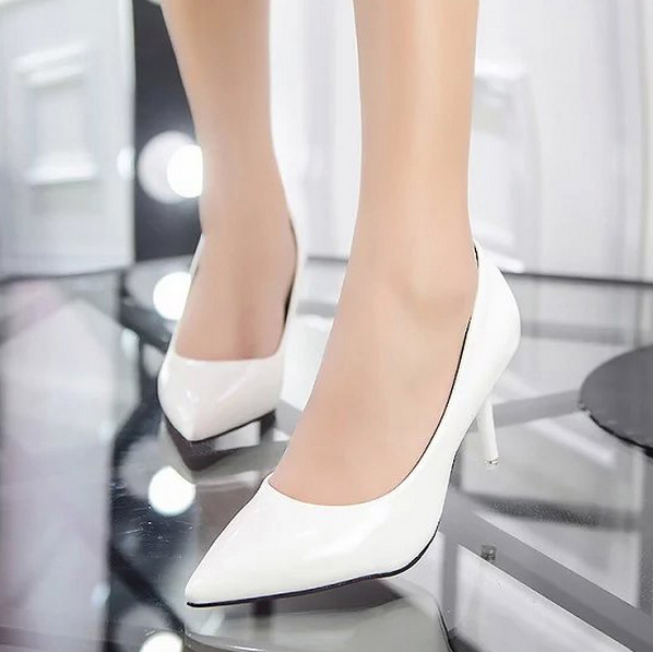 Plus Size 34-40 Women Shoes Pointed Toe Pumps  Patent Leather Dress Shoes High Heels Boat Shoes Wedding shoes zapatos mujer 2017<br><br>Aliexpress