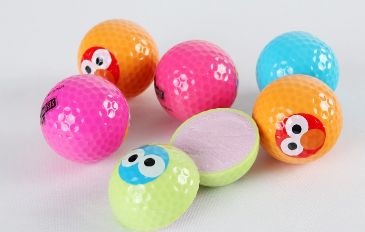 Colorful Golf ball random color eye pattern one pcs per price long distance training practice(China (Mainland))