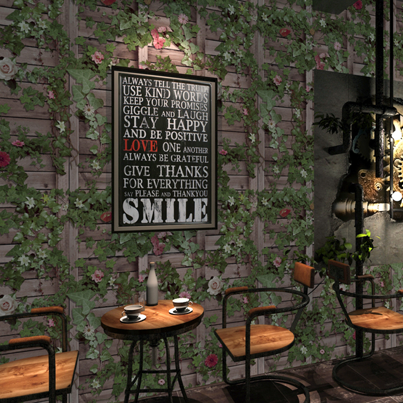 Vintage Wallpaper 3D Stereo Wood Board Boston Ivy Pattern Wall Paper Restaurant Cafe Creative Background Wall Papel De Parede 3D<br>
