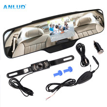"Anlud PZ-90C Rearview Mirror 4.3 Display Wireless Backup Reversing Camera Car Auto Reverse Parking Rearview Mirror 4.3"" Color"