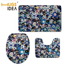 HUGSIDEA Toilet Accessories Vintage Skulls Printed Toilet Seat Cover Home Bathroom Decor 3D WC Warmer Soft Non-slip Rug 3pcs/set