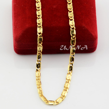 Unisex Mens Womens 4mm Solid Yellow Gold Color Filled Chain Link Snail Necklace 50cm 60cm UN005011807