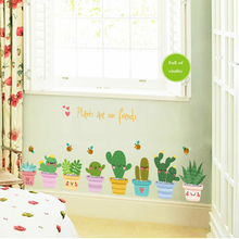 DIY Pot Culture Vinyl Wall Sticker Green Plant Wall Window Decals Pot Flower Cactus for Living Room Home Decoration