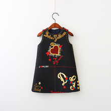 Girls Letter Heart Print Dress Fashion Vintage Black Color Sleeveless Clothes Cute Baby Children Western Fall Party Clothing