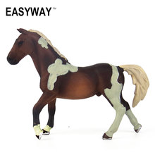 EASYWAY Brown Race Horse Toys for Children PVC Zoo Solid Plastic Wild Animal Figures Model Learning Educational Kids Gift Items(China)