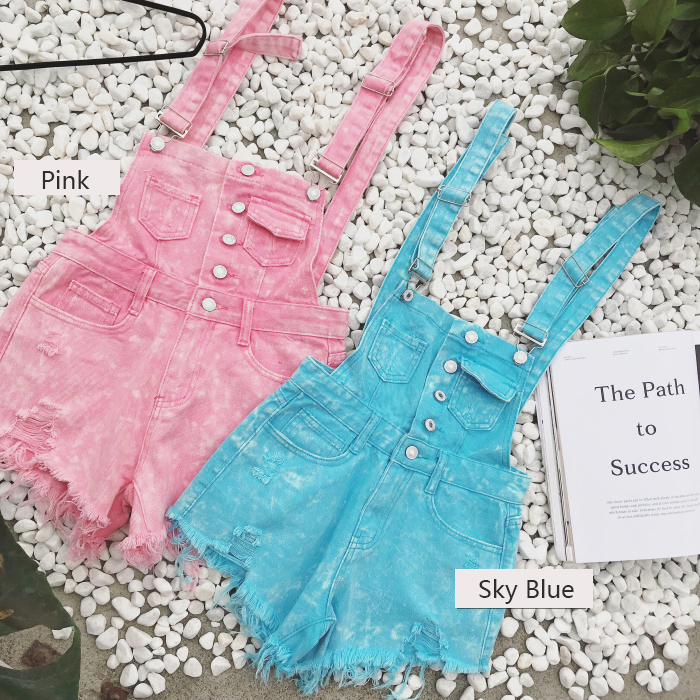 2018 new Korean college wind age denim strap shorts female wild thin students hole suspenders tide (6)
