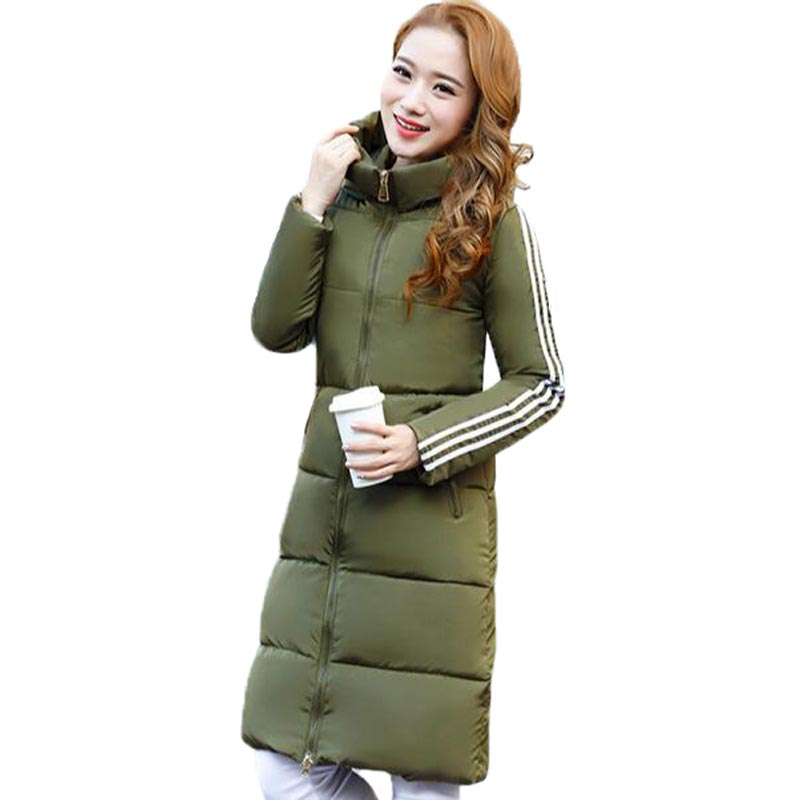 New 2017 Winter Jacket Women Hooded Stand Collar Warm Padded Down Cotton Coat Stripe Long Sleeve Slim Parkas Winter Coat PW0666Одежда и ак�е��уары<br><br><br>Aliexpress