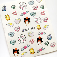 Newest Fashion DLS-302 cartoon girl water seal water transfer nail art sticker supplier accessories water decal