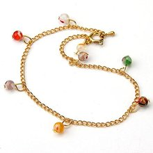 Women Beautiful Millefiori Lampwork Glass Beads Anklet Ankle Bracelet 6mm Golden(China)