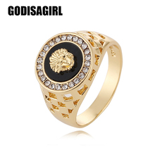 2017 New Arrival mens ring fashion hip pop Medusa Head Gold /Silver Color Black male man Finger ring for men women Size 7-12