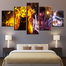 Canvas Wall Art Pictures Home Decor Living Room 5 Pieces Naruto Sasuke Paintings HD Prints Anime Characters Poster Framework