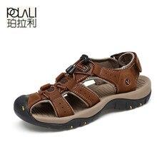 POLALI Classic Men Sandals Comfortable Men Summer Shoes 2018 Leather  Sandals Men(China) 9bed3a4e95de