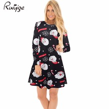 Ruiyige 2017 Winter Fashion Women Christmas Clothing Elegant Long Sleeve O-Neck Tunic Stretch Mini Dress Santa Festival Vestidos(China)