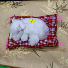 1Pc Lovely Simulation Animal Plush Sleeping Cats Toy with Sound Kids Toy Birthday Gift Doll Decorations stuffed toys Cat Mat