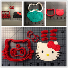 Custom Made 3D Printed Animal Cat Hello Kitty Fondant Cupcake Top Cookie Cutters Set