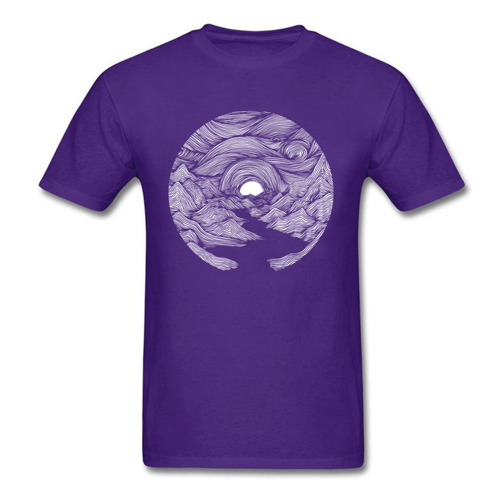 Fjord Sunrise O-Neck Top T-shirts Summer Fall Tops Shirt Short Sleeve Designer 100% Cotton Casual Tee Shirts Printed On Men Fjord Sunrise purple