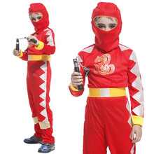 M~XL New 2016 Fancy Red Ninja Dragon Clan Cosplay Hallowean Carnival Dress Up Party Warrior Naruto Costume Boy Game Uniform Suit