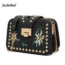 National Embroidery Flower Messenger Bag Luxury Brand Designer Falabella Chain Bag Enthic Brand Name Flap Rivet Chain Bags Canta