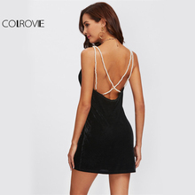 COLROVIE Pearl Beading Strap Crisscross Back Curved Dress 2017 Black Velvet V Neck Sleeveless Bodycon Dress Women Party Dress(China)