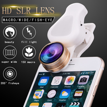 universal fish eye 3in1 clip lens, 0.62x Wide Angle, 15X Macro Lens Cell Phone Camera Lenses for smartphone iphone 7 samsung(China)