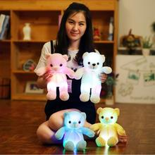 1pcs 32cm LED Lighting Stuffed Animal Luminous Plush Toys Stuffed Bear Teddy Bear Baby Sleeping Toy Birthday gift For Children(China)