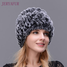 Hot 2017 New 100% Genuine Knitted Rex Rabbit Fur Hat Winter Lady Floral Cap Female Women Rabbit Fur Beanies hats free shipping(China)