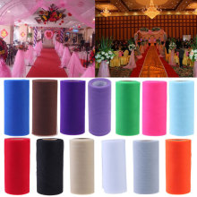 26.7X15cm Polyester Tissue Tulle Spool Rolls Colorful Craft Organza Gauze Element Table Runner Mariage Party Wedding Decoration(China)