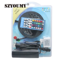 SZYOUMY Blister Kit Pack Black PCB 5M 5050 SMD RGBW RGB Cold White 300 Led Strip Light + 40keys IR Controlller+12V 5A Adapter