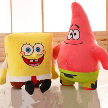 Sponge Bob Creative new 25cm Spongebob And 26 cm Patrick Plush Toy Soft Cartoon Toy for Kids Doll Birthday Gift Home Decoration(China)