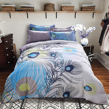 Beautiful peacock tail print bedding set high quality sanding cotton fabric Queen/King Size duvet cover+flat sheet+pillowcase