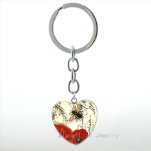 Vintage Big Honey Bee heart pendant key chain ring fashion Queen Bee charm orange flower art keychain men women jewelry HP491