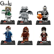 GonLeI 6Pcs Scooby Doo The Walking Dead Halloween Figures Monster Bats Zombie Building Blocks Brick Toys