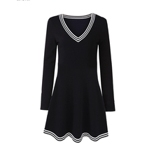 Sun Moon Kid Girls Dress 4 Colors Solid V-neck Long Sleeve Cotton Dresses Spring Autumn Casual Kids Dress Baby Girls Clothes(China)