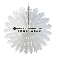 "35cm(14"") Snowflake Paper Fans Wedding Paper Flowers Tissue Paper Snowflake Pin Wheels Hanging Fans Paper Crafts Home Decor(China)"