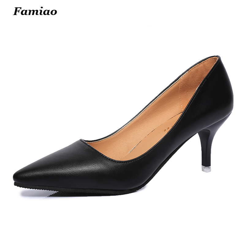 New 2017 Spring Brand Office Lady Shoes Thin heel Pointed Toe 7cm High Heels Women Party Shoes Woman Pumps<br><br>Aliexpress