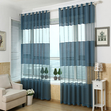 Jacquard knitted Curtain Punching Screens Wild Striped knitted Curtain High Quality knitted Curtain for you