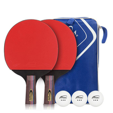 Crossway Table Tennis Rackets Rubber Ping Pong Paddle Double Face Table Tennis Racket Set With Balls + Bag Long/Short Handle