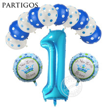 13pcs/lot 1 Year Old Baby Shower Birthday Helium Balloon 40inch Boy Girl Mickey Minnie Latex Kids Birthday Party Decor Globos
