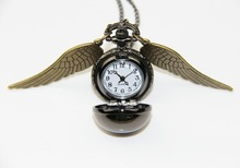 Fashion Jewelry Antique bronze wings HP gun black snitch pocket watch necklace,original factory supply