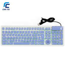 Russian/English 107 Keys Silent Silicone Flexible Keyboard Waterproof USB Slim Keyboard Portable Tablet PC Phone Keyboard(China)