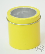 Dia.5.5*6cm New Arrival Display Tin box round tin silver muji tin gift box with plastic window(China)