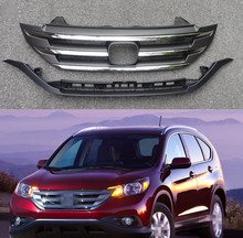 1 Set Chromed Front radiator upper grille with lower bar jaw grill for HONDA CRV 2012-2014(China)