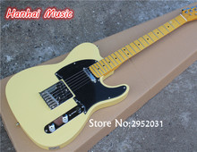 Hot Sale Custom Electric Guitar,Light Yellow Body,Vintage Maple Neck,22 Frets,Black Pickguard,can be Customized(China)