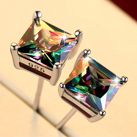 Cute Female Small Rainbow Earrings Crystal Stone Fashion Silver Wedding Earrings Colorful title=