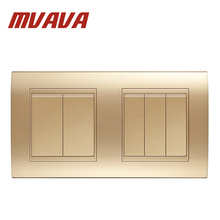 MVAVA Dual 5 Gang Electrical Push Button Light Wall Switch  Double Champagne Gold Fire Retardant PC Panel Free Shipping