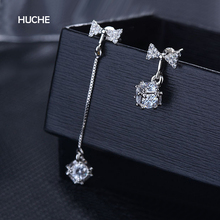 HUCHE Unsymmetrical Bowknot With Magic Cube Vintage Dangle Earrings For Women Copper AAA CZ Crystal Jewelry HYJEX035(China)